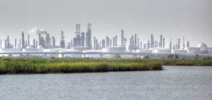 Oil and gas refinery on Texas coast, an image in Texas Aquatic Science by author Rudolph Rosen