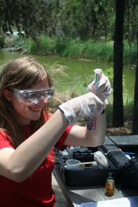 Texas Stream Team water quality testing, an image in Texas Aquatic Science by author Rudolph Rosen