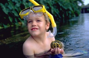 Boy in water with turtle, an image in Texas Aquatic Science by author Rudolph Rosen