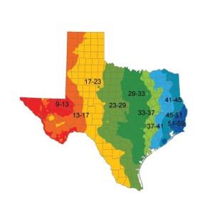 Rainfall map of Texas, an image in Texas Aquatic Science by author Rudolph Rosen
