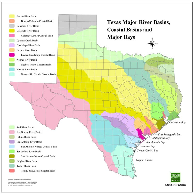 river basins in texas, an image in texas aquatic science by author rudolph  rosen