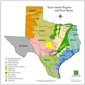 Physiographic regions in Texas, an image in Texas Aquatic Science by author Rudolph Rosen