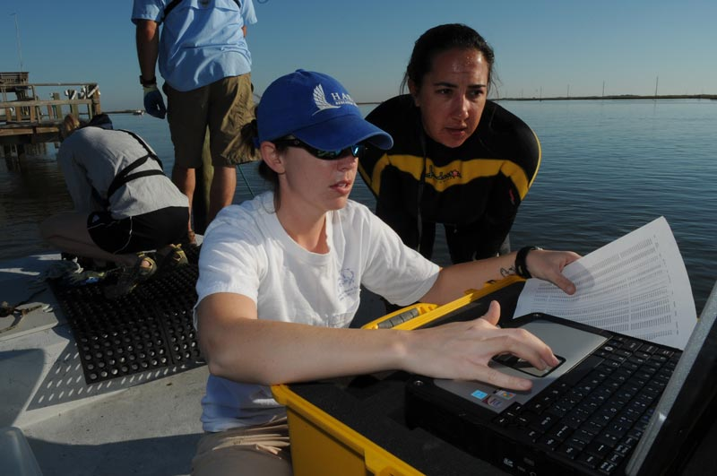 Two hydrologists in a boat looking at a computer and data, an image of Working and Careers in Water and Aquatic Science from the book Texas Aquatic Science by author Rudolph Rosen. Photo credit: Harte Research Institute for Gulf of Mexico Studies