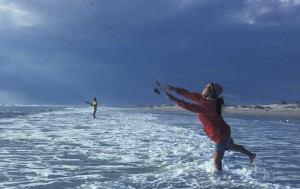 Surf angler in Gulf of Mexico, Texas, an image in Texas Aquatic Science by author Rudolph Rosen