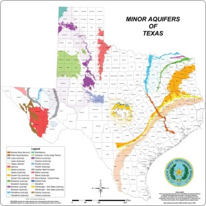 Aquifers map, minor, in Texas, an image in Texas Aquatic Science by author Rudolph Rosen