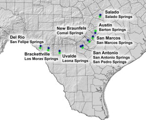 Springs in Texas, important ones to commerce and settlement. An image in Texas Aquatic Science by author Rudolph Rosen