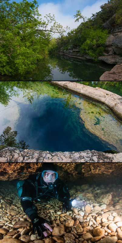 Jacob's Well in the Hill Country's Edwards aquifer, an image in Texas Aquatic Science by author Rudolph Rosen