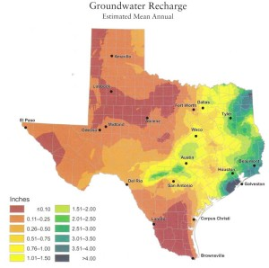 Groundwater recharge map of Texas, an image in Texas Aquatic Science by author Rudolph Rosen