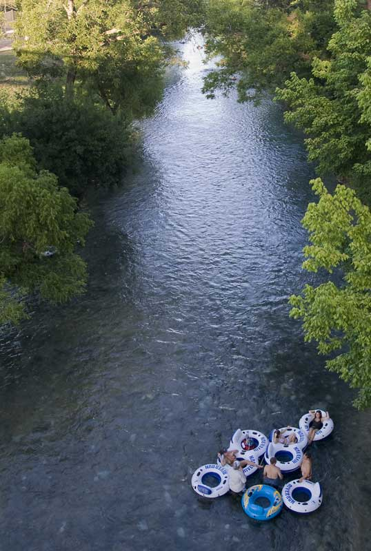 Tubing on a Texas Hill Country stream, an image in Texas Aquatic Science by author Rudolph Rosen