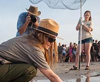 Volunteer for sea turtle release, an image in Texas Aquatic Science by author Rudolph Rosen