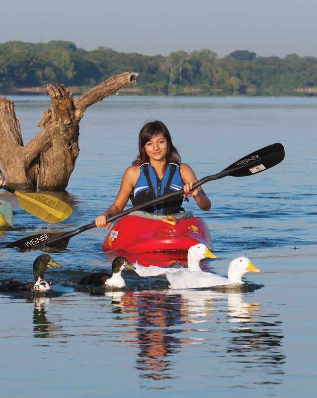 Kayaking girl with ducks, an image in Texas Aquatic Science by author Rudolph Rosen